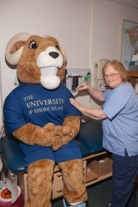 Rhody receiving his flu shot!